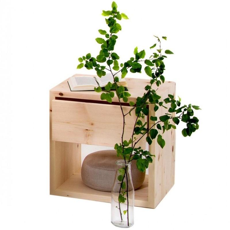 freistehendes Zirbenholznachtkästchen mit einer Schublade by Schröcker