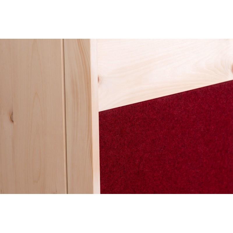 ZIRBENSCHRANK MODERN - Front mit Leder oder Lodenstoff tapiziert.