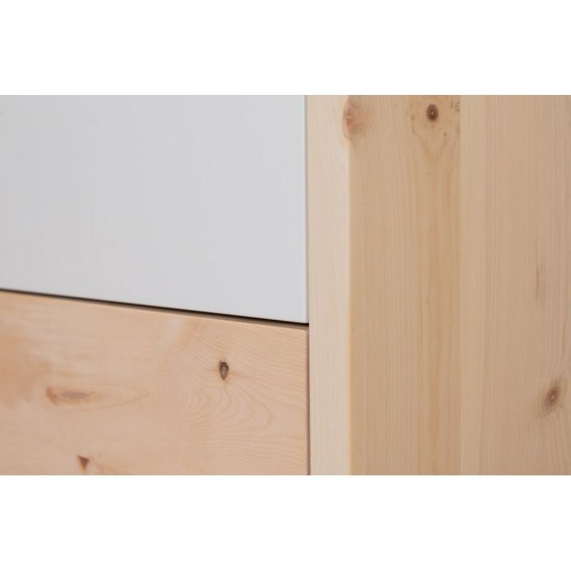 Zirbenholzkommode mit 2 Laden aus Echtglas weiß