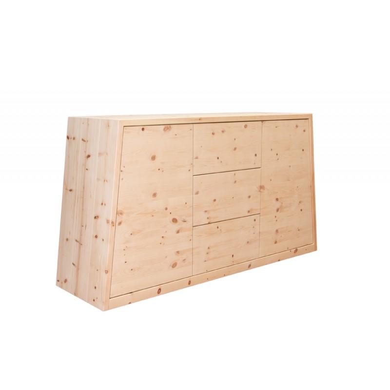 Zirbenholzkommode trapezförmiges Design. 2 Drehtüren und 3 Laden