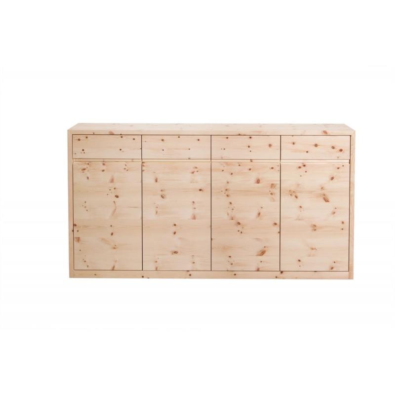 Rechteckige Zirbenholzkommode mit Drehtüren und Laden