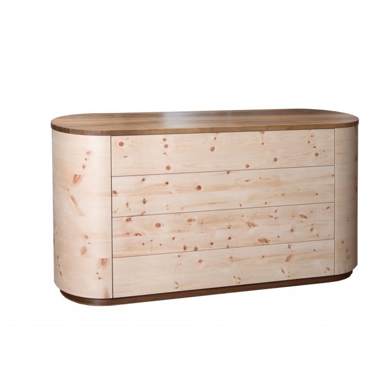 Zirbenholzkommode mit Platte aus Walnut. 4 Laden
