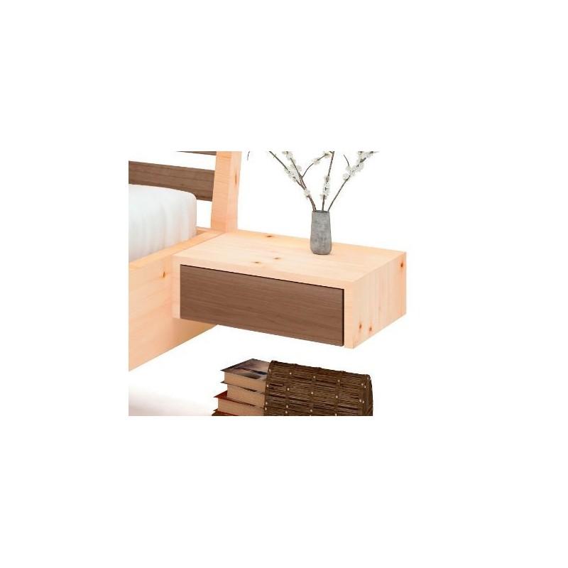 Arvenbett mit halbabgerundeten Kopfteil das eine breite Keileinlage aus Walnuss enthält.