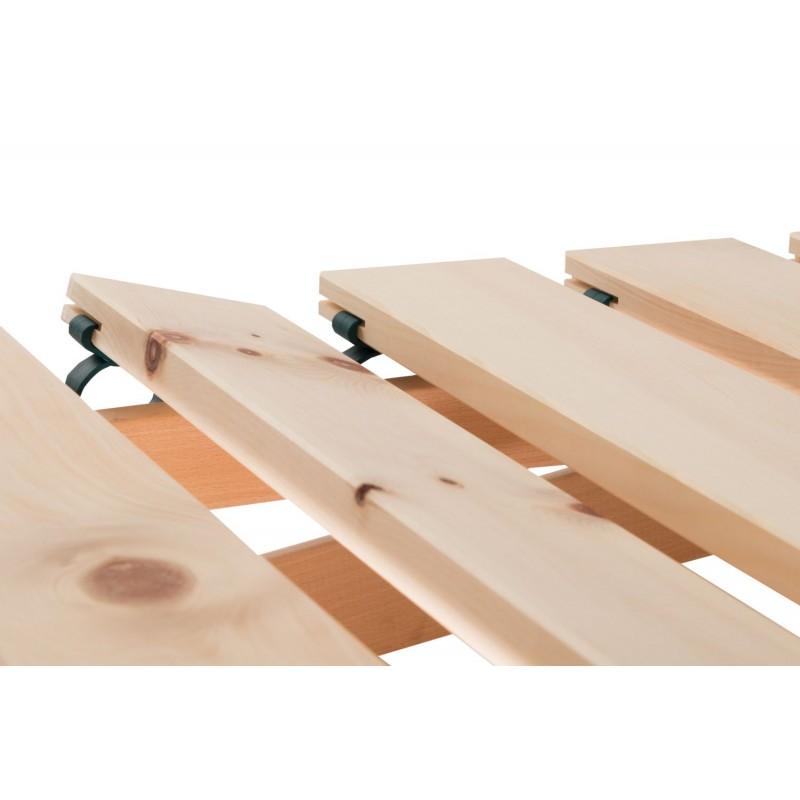 Am Bild der Zirbenlattenrost Flexi aus österreichischen Zirbenholz gefertigt. Der Zirbenholzlattenrost ist metallfrei.