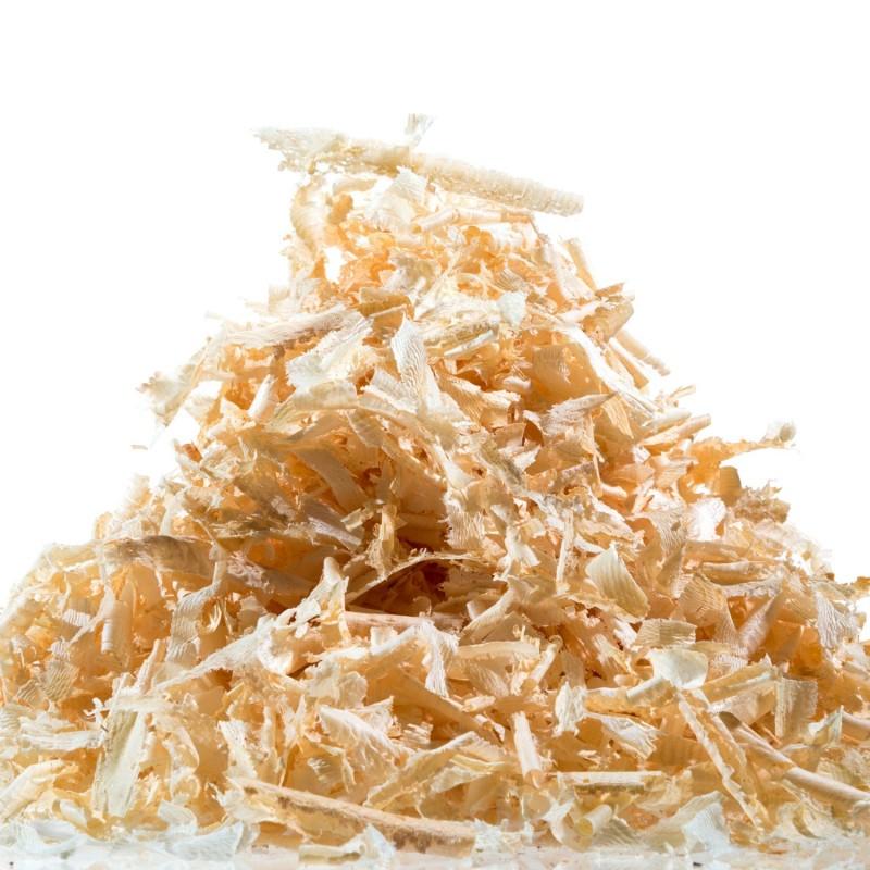 Am Bild die Zirbenkieferspäne vom Schröcker. Die Zirbenflocken werden frisch aus rein luftgetrockneten Zirbenholz gehobelt.